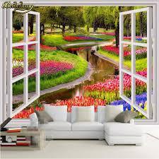 beibehang nach foto tapeten wohnkultur große wandbilder falsche windows grün blumen creek wohnzimmer sofa schlafzimmer tapete