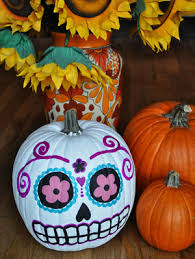 Sugar Skull Pumpkin Carving Patterns by 10 Cute Spooky And Fun Diy Painted Pumpkin Ideas Gurl Com