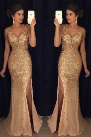 beading gold long prom dress long crystal beaded prom dress