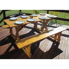 a u0026 l furniture yellow pine traditional picnic table with 2