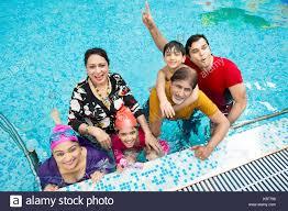 Indian Big Family Bathing Swimming Pool Hotel Having Fun