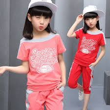 Kids Girls Summer 2017 New 3 Korean Children Exercise Two Suit 12 Years Old Fashion