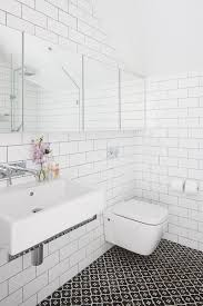 black and white tile bathroom black beveled subway tile decoration