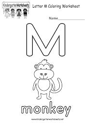 Kindergarten Letter M Coloring Worksheet Printable