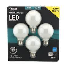 feit electric 5 5w led globe bulb 2700k g25 medium base dimmable