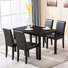 4 Family 5 Piece Dining Table Set Chairs Wood Kitchen Dinette Room Breakfast Furniture
