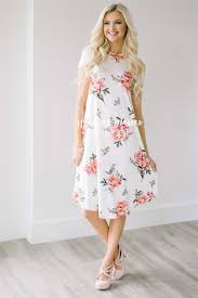 cute white pink floral pocket modest dress modest dress for