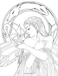 Fairy And Unicorn Coloring Pages For Adults With Goth Plus Realistic Pictures Fairies Of Water