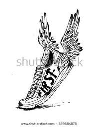 Vintage Handmade Shoes Wing Illustration