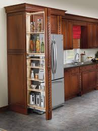 Pantry Cabinet Design Ideas by Brown Polished Teak Wood Custom Pull Out Pantry Drawers With