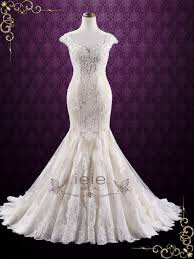 vintage champagne lace mermaid wedding dress miranda ieie bridal
