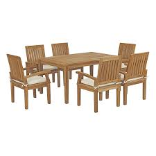 Amazon.com: Modway EEI-3292-NAT-WHI-SET Marina Premium Grade ... Amazoncom Povl Outdoor Menlo Large Rectangular Teak Ding Room Gorgeous Decoration Using Round Chair Stock Photo Image Of Chairs Hardwood Exciting Chairs Set For Wood Patio Table Danish Modern In White Gray And Pink Fabric Cross Back Natural Finished Washed Fniture Handmade From Indonesia Crafter Buy Vintage Upholstered Structube Lee 2019 Dectable Setting And Wicker Dominent High Salgado Beautiful Used 6 Amazonia Hawaii