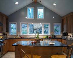 kitchen vaulted ceiling lighting crown molding house plan