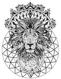 Boho Lion With Sacred Geometry Adult Coloring Book Page