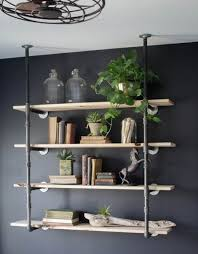 Best Ideas About Mounted Shelves Black Colored Wall Four Piece Wooden Shelf Diy Pipe Metal Holder