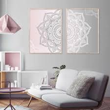 abstrakte rosa grau böhmen mandala runde floral leinwand poster und druck gemälde wand kunst bilder für wohnzimmer wohnkultur