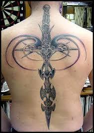 Tribal Dragon Sword Tattoo Design Idea
