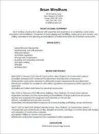 Construction Worker Resume Sample From Laborer Examples Of Resumes