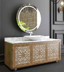 casa padrino luxus badezimmer set naturfarben weiß 1 waschtisch mit 3 türen und 1 waschbecken und 1 wandspiegel badezimmermöbel luxus qualität
