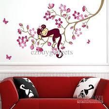Cute Monkey Pink Flower Blossom Tree Wall Art Decor Decal Baby Kids Bedroom Nursery Removable Sticker