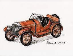 Classic Car Ford 1920s Original Art Print FREE