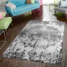 teppich modern vintage schwarz weiß