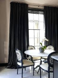 Black Silk Curtains White And Dining Rooms Drapes Raw