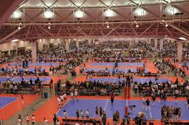 Volleyball courts fill the Minneapolis Convention Center for the