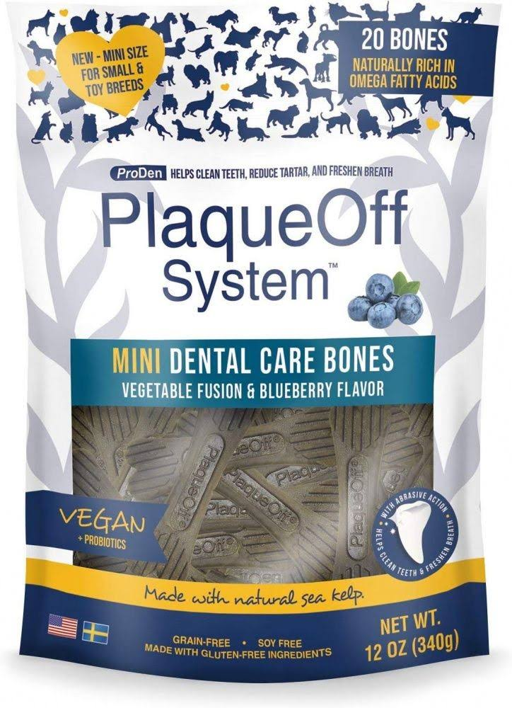 Proden PlaqueOff Mini Dental Vegetable & Blueberry Fusion Bones for Small Breed Dogs - 12-oz