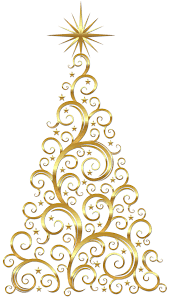 Transparent Gold Deco Christmas Tree Clipart