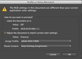 If The Profile Or Policy Mismatch Message Appears Select Adjust Document To Match Current Color Settings Option