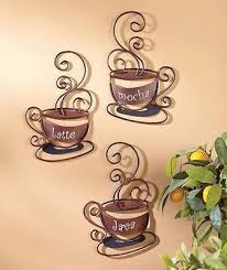 NEW Set Of 3 Decorative Wall Coffee Cups Great For Cafe Or Home Kitchen Decor