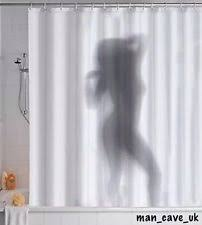 Naked Lady Woman Silhouette Shadow Shower Curtain Joke Secret