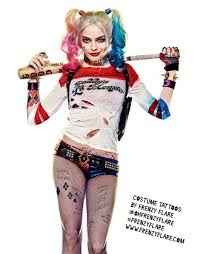 Harley Quinn Temporary Tattoos Suicide Squad Costume Halloween Or Cosplay