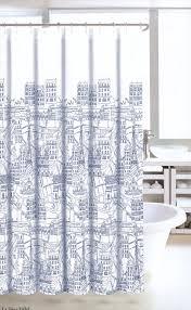 amazon com nicole miller fabric shower curtain navy blue white