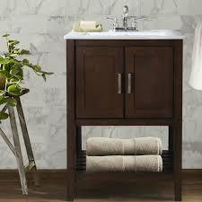 Single Sink Vanity With Makeup Table by Abel 24 Inch Single Sink Bathroom Vanity Coffee Finish White