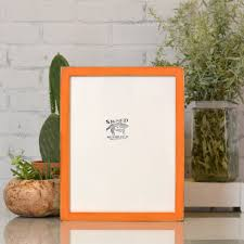 11x14 Picture Frame In 1x1 Flat Style With Vintage Orange Finish