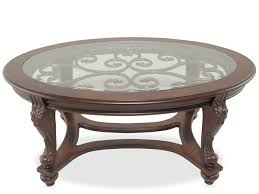 Norcastle Sofa Table Ashley Furniture glass insert oval traditional cocktail table in brown mathis