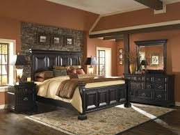 BedroomRustic Country Traditional Bedrooms Designs With Black Wooden Headboard And Stone Wall Paneling Plus