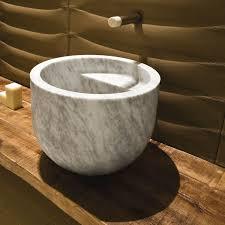 vasque à poser ronde en marbre en naturelle ciotola