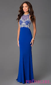 long beaded illusion prom dress