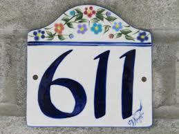 custom painted ceramic house number tile by cgullceramics