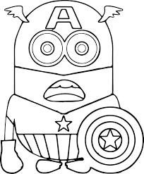 Minions Coloring Pages Captain Of Dave Christmas Movie Free Full Size