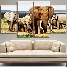 No Frame Africa Elephant Vintage Animals Modular Pictures Oil Canvas Art Painting On Wall Diy Decor