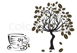 Coffee Tree In A Cup Vector Illustration