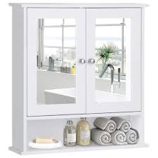 Tangkula Bathroom Cabinet Home Kitchen Living Room Double Mirror Door Wall Mount Storage Shelf Organizer Wood Medicine CabinetWhite