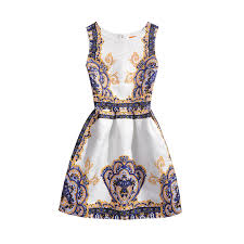2017 Summer Girls Dresses Teenage Dress Kids Teenagers Clothing Children Teens European Retro Printing Jacquard