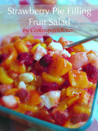 Strawberry Pie Filling Fruit Salad is the easiest fruit salad you will ever make My husband adores this stuff Actually he loves fruit period