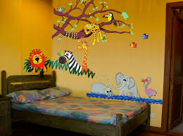 Bedroom Ideas Magnificent Charming Cute Animal Zoo Wallpaper Kids Design Inspiration With Contemporary Textured Grey Wood Combined Decorating