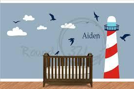Ocean Themed Bathroom Wall Decor by Nautical Theme Lighthouse Vinyl Wall Decal Infant And Children U0027s